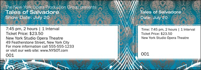 Opera Turquoise General Admission Ticket Product Front