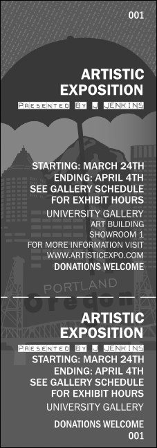 Portland General Admission Ticket (black and white) Product Front