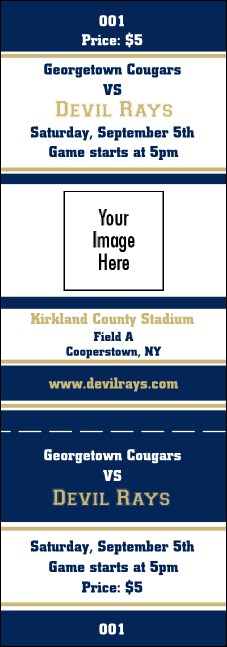 Sports Ticket 001 Navy & Gold Product Front