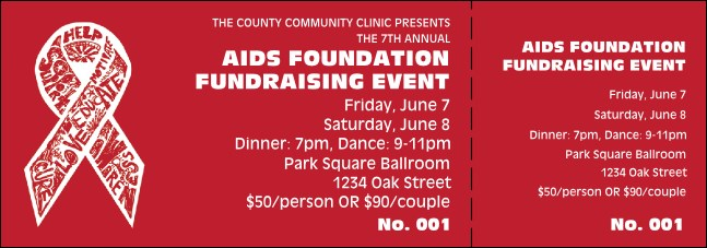 AIDS Fundraising Event Ticket Product Front