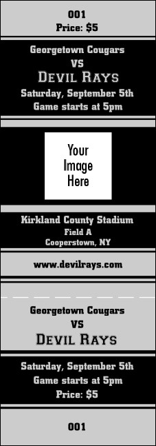 Sports Ticket Black & Silver Product Front