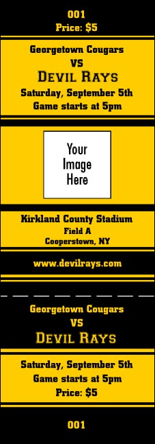 Sports Ticket Black & Yellow Product Front
