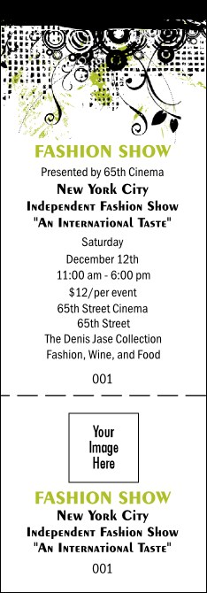 Fashion show general admission ticket for Fashion show ticket template
