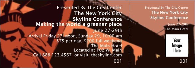 New York Red and Orange General Admission Ticket 001