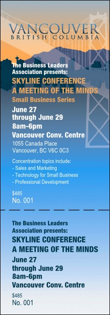 Vancouver BC Event Ticket Product Front