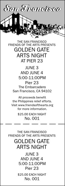 San Francisco Event Ticket (black & white)