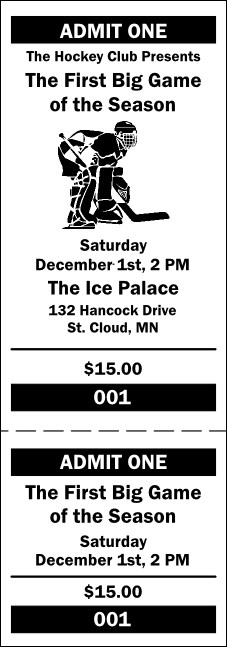 Hockey General Admission Ticket 001