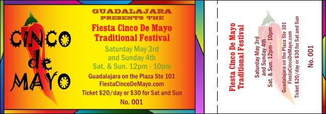 Cinco de Mayo General Admission Ticket 001 Product Front
