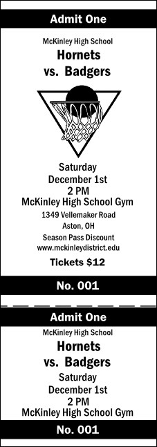 Basketball General Admission Ticket 002 (b&w)