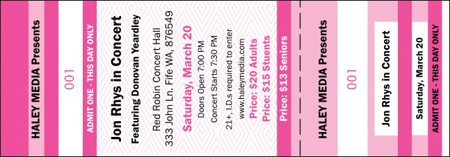 fashion show ticket template - pink two tone general admission ticket