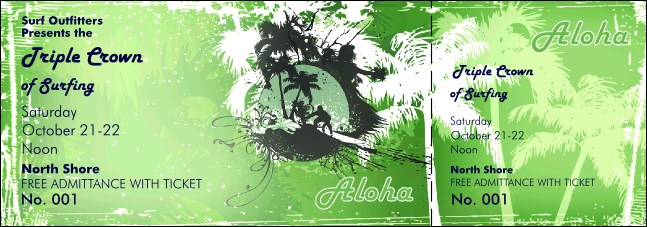 Aloha Event Ticket Product Front
