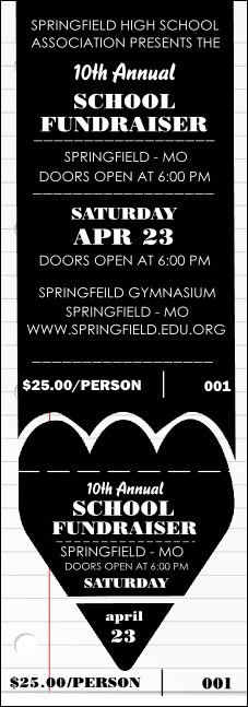 School Notebook Black and White Event Ticket Product Front