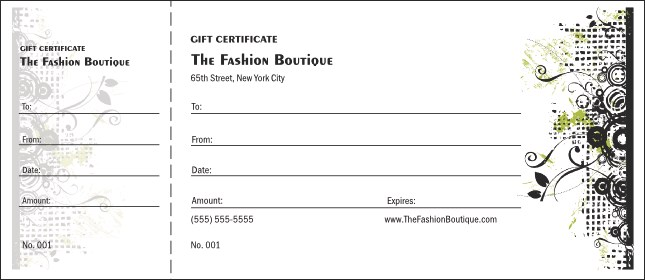 Fashion show gift certificate for Gift certificate template google docs