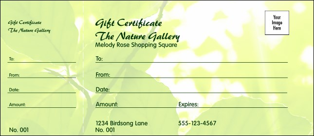 Nature Series - Green Leaves Gift Certificate