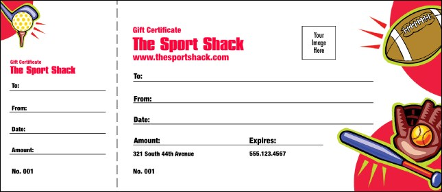 Sports Gift Certificate - Numbered gift certificate template