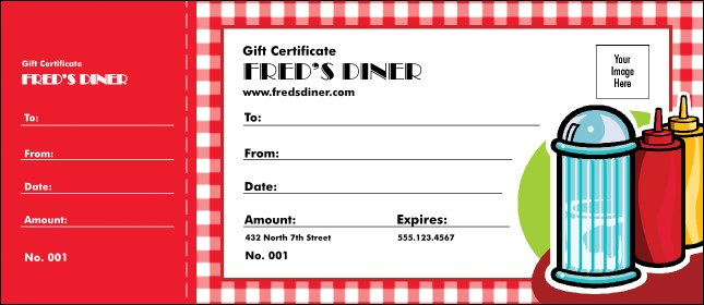 Diner Gift Certificate Product Front