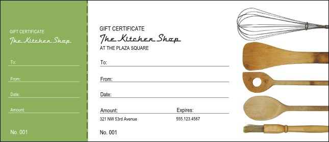 Kitchen Store Gift Certificate - Numbered gift certificate template