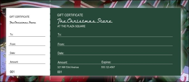 Present Gift Certificate with stub