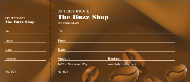 Coffee Bean Gift Certificate Product Front