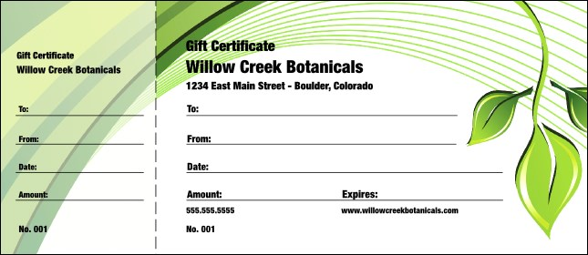 Green Leaf Gift Certificate