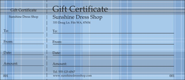 Plaid Gift Certificate