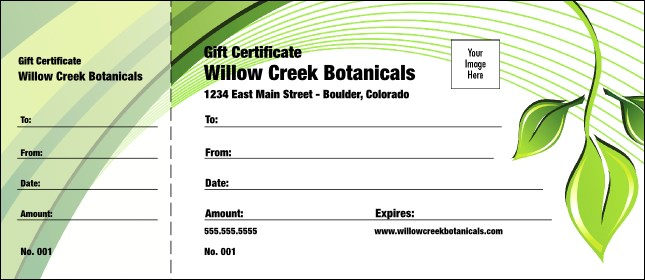 Green Leaf Gift Certificate 002