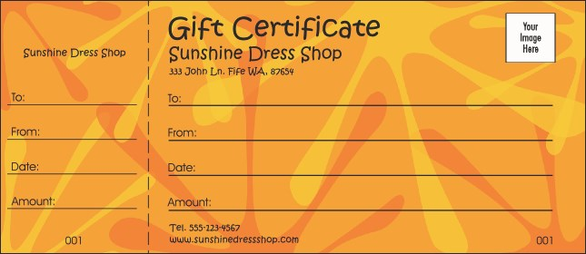 Orange Fun Gift Certificate Product Front