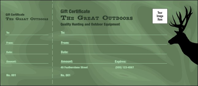 Great Outdoors Gift Certificate Product Front