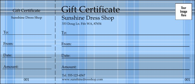 Plaid Gift Certificate 002 Product Front
