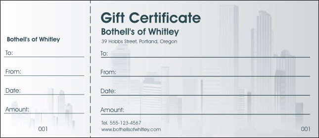 Cityscape Gift Certificate Product Front