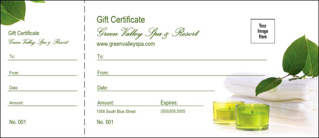Spa Logo Gift Certificate Product Front