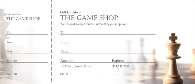Chess Gift Certificate