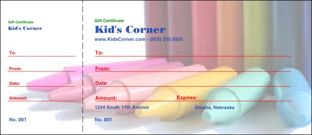 Crayons Gift Certificate Product Front