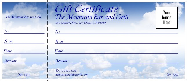 Blue Skies Gift Certificate Product Front