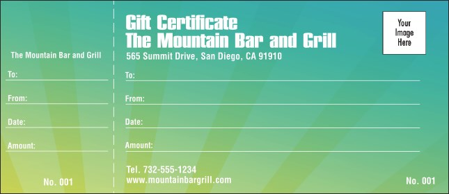 Green Fade Logo Gift Certificate Product Front