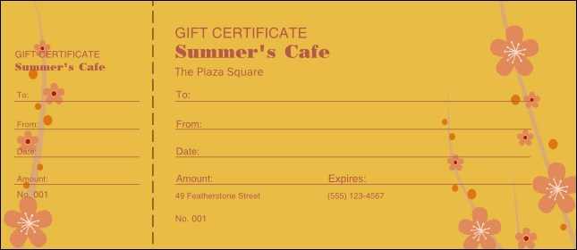 Fruit Flowers Gift Certificate