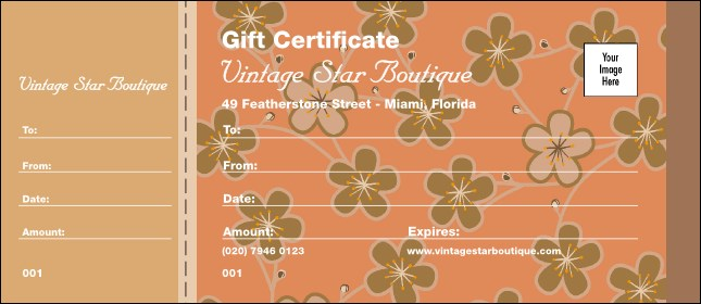 Retro Floral Gift Certificate