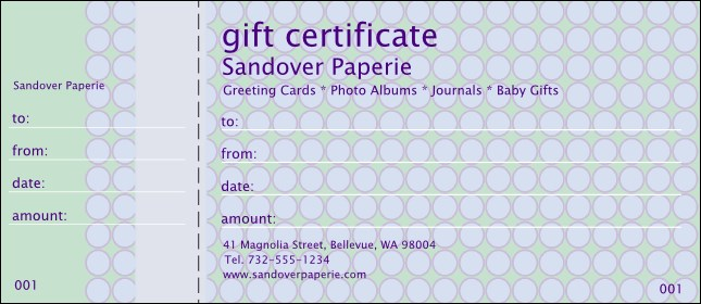 Polka Dots Gift Certificate