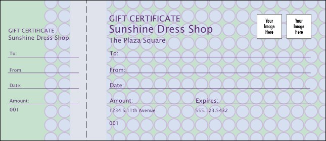 Pastel Polka-Dot Gift Certificate Product Front