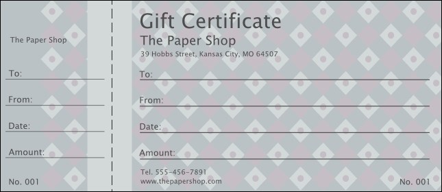 Dark Silver Diamonds Gift Certificate