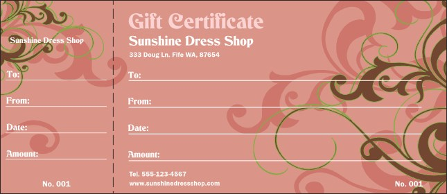 Pink Vines Gift Certificate