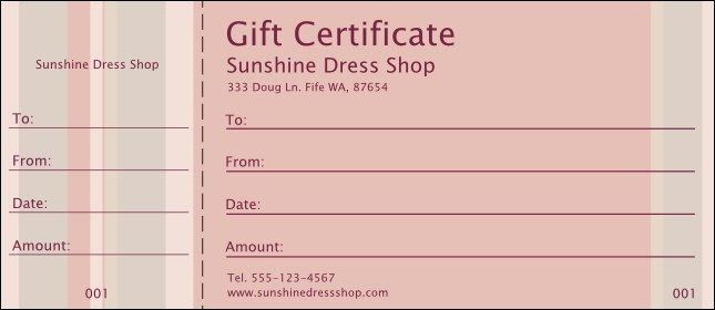 Pink Stripes Gift Certificate