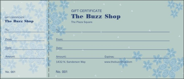 Country Flowers Gift Certificate