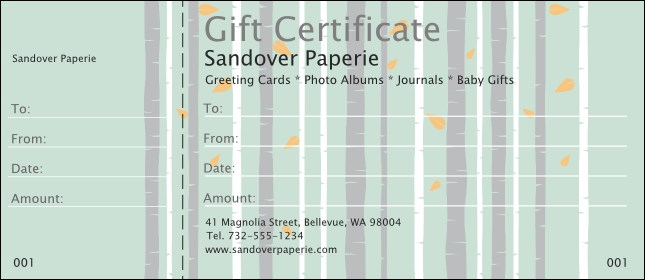 Birch Forest Gift Certificate Product Front