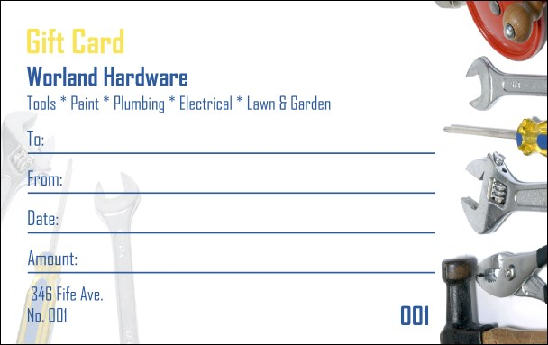 Hardware Gift Card Product Front