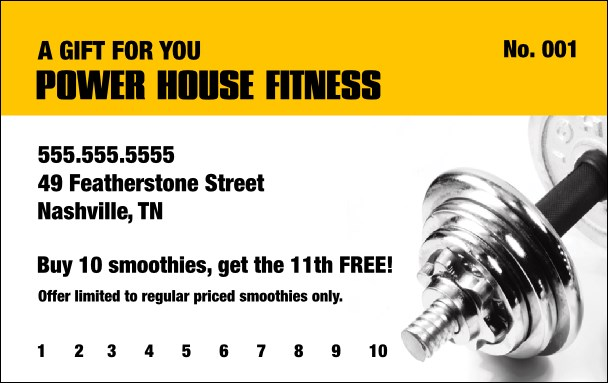 Fitness Gym Gift Card Product Front