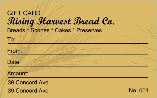 Bakery Gift Card Product Front