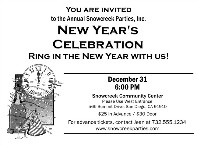 Black and White New Year's Invitation 001