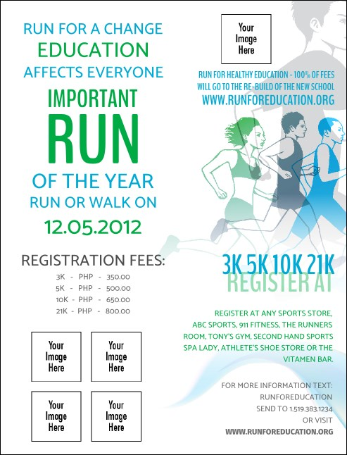 Run for a Cause Blue & Green Invitation