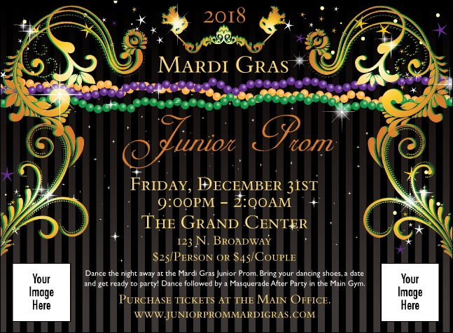 Mardi Gras Beads Invitation